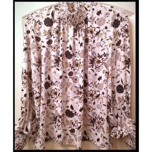 Fall floral long sleeve blouse